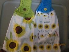 New listing Plush Hand Crocheted Top Hanging Kitchen Towels Sunflower And True Colors