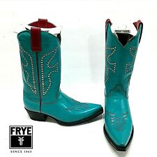 Frye DAISY DUKE COWGIRL BOOTS Western Studded TURQUOISE RED Sz 7 37