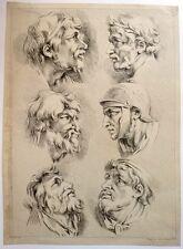 """Eau Forte par J-G. HUQUIER, """"Etude de Visages"""",d'aps F. BOUCHER, XVIIIème"""