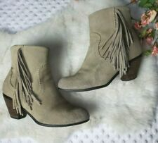 Womens Sz 7 Soft Suede Boho Booties Boots tan beige Cowgirl Ankle crown Vintage