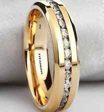 6mm Unisex Created Diamonds Titanium Gold Tone Wedding Engagement Band Ring
