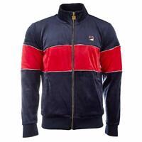 New Men's Fila Filas Velour Zip Jacket Athletic Top Hoody Fleece