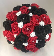 BRIDE WEDDING BOUQUET RED BLACK WHITE FOAM ROSE WEDDING FLOWERS POSIE DIAMANTE