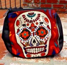 DAY OF THE DEAD MULTI COLORED SUGAR SKULL MAKE UP  COIN BAG MEXICO FREE SHIPPING