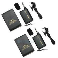 2Pcs Wireless FM Transmitter Receiver Lavalier Lapel Clip Microphone Mic System