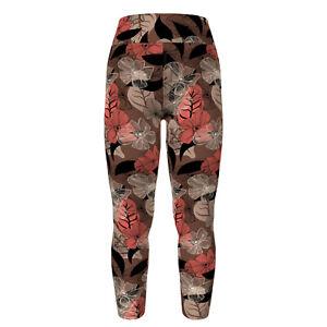 TC LuLaRoe Tall & Curvy Leggings Tan Brown Pink Flowers Leaves NWT  E33
