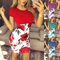 Womens Boho Floral Splice Sexy Bag Hip Dresses Ladies Holiday Summer Beach Dress