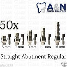 50 Straight Titanium Abutment for Regular Platform Dental implants Lab HQ