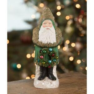 """11"""" Bethany Lowe Emerald Green Belsnickle Santa Bottlebrush Christmas Vtg Figure"""