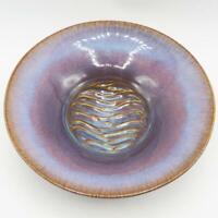 "Artist Signed Glazed Pottery Serving Bowl Hand Made 10-1/2"""