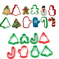 6Pcs Christmas Cookie Plastic Biscuit Cutters Gingerbread Bell Tree Snowman Tool
