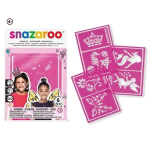 GIRLS Snazaroo Face Painting Stencils 6 Designs For Kids Face Paint Make Up