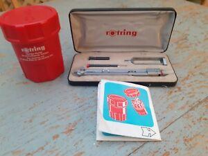 Vintage  (1970's?) Rotring compass setin original case plus pen cleaning unit.