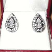 RHODIUM PLATED 925 HALLMARKED SILVER 5MM RUBOVER SOLITAIRE STUD EARRINGS