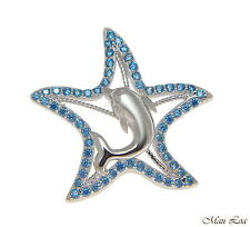 PLATA DE LEY 925 Original Topacio Azul HAWÁI Estrella de Mar Colgante Delfín