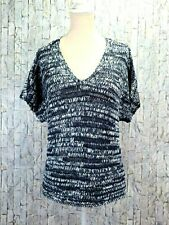 Eileen Fisher Blue Chunky Knit Sweater PL Petite Large Short Sleeve V Neck Top