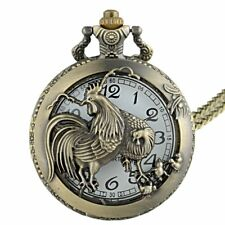 Antique Bronze Animal Rooster Pendant Vintage Pocket Watch Quartz Necklace Chain