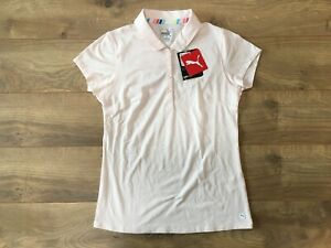 PUMA Women's Fusion Mesh Golf Polo Shirt Rosewater Pink SZ S ( 595825 02 )