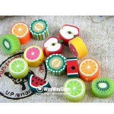 100 Pcs Nail Art Caña mixto Fimo Arcilla Polimérica Frutas espaciador perlas 10 Mm Gg