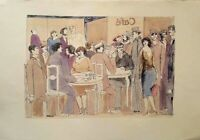 David Schneuer: At the Cafe/ Israeli German Expressionism Nightlife Hand Painted