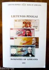 Banknotes of Lithuania - Lietuvos Pinigai Brochure Bank of Lithuania 1993