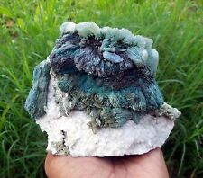 Beautiful GREEN STILBITE w/ HEULANDITE on CHALCEDONY Mineral Specimen India C-2