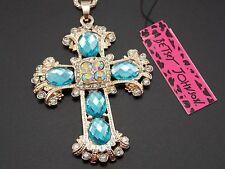 Betsey Johnson rhinestone blue crystal cross pendant necklace # F317M