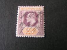 BRITISH HONDURAS, SCOTT # 67, 25c VALUE VIOLET ORANGE 1904 KEV11 ISSUE USED