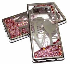 For SAMSUNG GALAXY NOTE 8 SILVER LOVE Pink Glitter Stars Liquid Water Skin Case