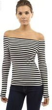 Patty Boutique Striped Long Sleeve Off The Shoulder Top Size Medium