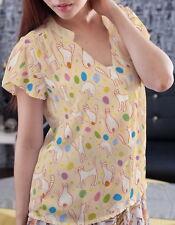 Cats? Women Chiffon Stand Up Collar Petal Sleeve Blouse b130 acr03534