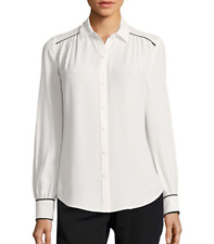 Worthington Button down blouse shirt L white/black long sleeve Work Poly NWT $40