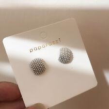 Boucles d'oreilles Doré Demi Anneau Pavé Mini Perle Blanc Plaqué or 14k M5