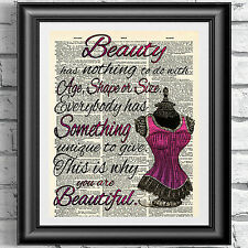 Dictionary book page print poster Beauty quotation self confidence Wall Decor