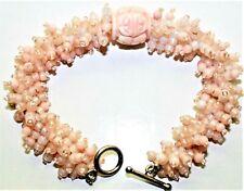 Vintage Coral & Opalite Beads Carved Center Bead Sterling Silver Toggle Bracelet