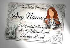 Your Photo Personalised Memorial Plaque. Waterproof, for garden grave