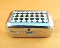 Vintage Pill Pot METAL Pill Trinket Box Case SILVER Tone op-art design