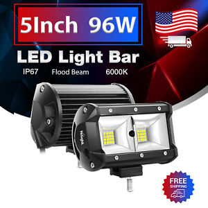 Nilight 2PCS 5Inch LED Work Light Bar Flood 3600LM Fog Driving Lamps for Trucks