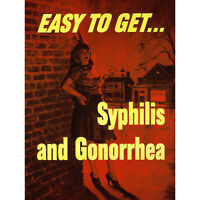 PROPAGANDA WWII WAR USA HEALTH SYPHILIS STD PROSTITUTE NEW FINE ART PRINT POSTER
