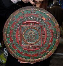 Tibet bronze inlay gem Turquoise Coral 6 arms sword Mahakala buddha Wall hanging