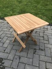 Square Slated Folding Garden / Picnic Table Solid Wood. 50x50x50cm