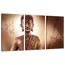 Set of 3 Part Brown Buddha Canvas Wall Art Pictures Bedroom Print 3101