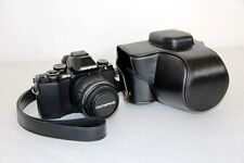 Black camera leather case bag for Olympus OM-D E-M10 EM10 w/ 14-42mm 2RK lens