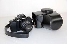 Black Leather Camera case bag  for Olympus OM-D E-M10 Mark II, 14-42mm II R Lens