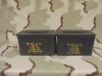 2(Two) Military Surplus 50cal (M2A1) Ammo Cans Boxes .50 caliber good condition