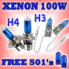 UPGRADE XENON BULBS MAIN (DIP) FULL (HIGH) FRONT FOGS 100W H4 H3