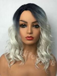 New Fashion Medium Wig Wavy Curly Women Ladies Hair Synthetic Black+Silver Gray