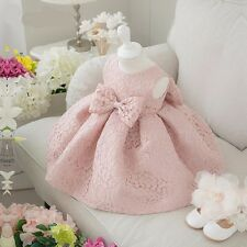 Newborn Baby Gown Infant Girl's Princess Lace Baptism Bow Dress Toddler Baby