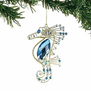 Department 56 Coast to Coast Jeweled Metal Seahorse Hanging Ornament 6.5 Inch