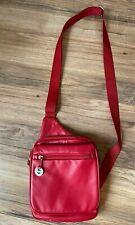 TRAVELON Red Leather Crossbody Organizer Bag